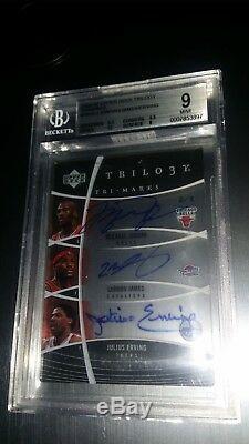 06 Ud Trilogy Michael Jordan Lebron James Erving Triple Autograph Auto 2/3 Bgs 9