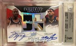 09-10 Exquisite Dual Auto Patches Michael Jordan LeBron James 05/23 BGS 9/10