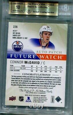 15/16 Sp Authentic Connor Mcdavid Fw Auto Patch Bgs 9.5 Auto 10 Serial# 023/100