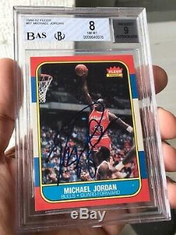 1986-87 Fleer Michael Jordan #57 RC rookie card signed autograph BGS-8 Auto-9