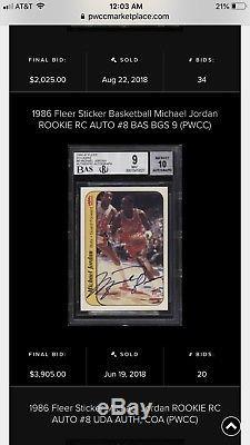 1986 Fleer Sticker Signed Rookie Card MICHAEL JORDAN #8 BGS 9 Auto 10 So Rare