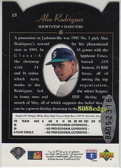 1994 Sp Buyback Die-cut Foil Rookie Rc Auto Alex Rodriguez #3/3 Autograph Bgs 8