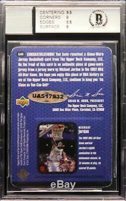1997-98 Michael Jordan Upper Deck Game Jersey Flight School Auto BGS 8.5 / 10