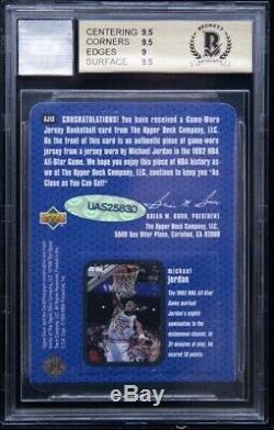 1997-98 Upper Deck Game Jersey Michael Jordan HOF 10 AUTO BGS 9.5 UDA COA POP 1