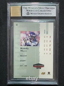 1998 Playoff Contenders Ticket Randy Moss ROOKIE RC AUTO /300 #92 BGS 8 NM-MT