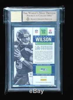 1/1 Bgs 9.5 Russell Wilson 2012 Panini Contenders Ticket Auto Jersey # 3/99 Gem