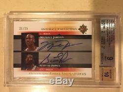 1/1 Michael Jordan Scottie Pippen 2005 UD Ultimate Signatures Auto #23/25 BGS 9
