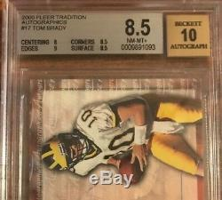 2000 Fleer Autographics Tom Brady Rookie Card BGS 8.5 with 10 AUTO NFL MVP GOAT