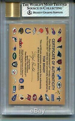 2000 Fleer Autographics Tom Brady Rookie Card RC Auto BGS 8 Auto 10