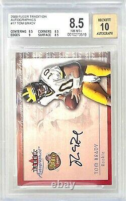 2000 Fleer Tradition Autographics Tom Brady RC Rookie Card BGS 8.5 with9 & 10 Auto