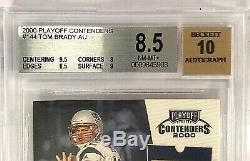 2000 Playoff Contenders TOM BRADY On Card AUTO #144 ROOKIE Ticket BGS 8.5 NM-MT+