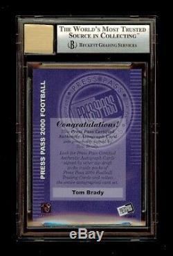 2000 Tom Brady Players Press Pass Rookie Autograph Rc #3 Bgs 8.5 10 Auto