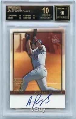 2001 Bowman ALBERT PUJOLS Auto rc rookie BGS 10/10 BLACK LABEL POP 1 Cardinals