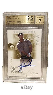 2001 SP Authentic #45 Tiger Woods Golf ROOKIE RC AUTO /100 GOLD BGS 9.5 GEM MINT