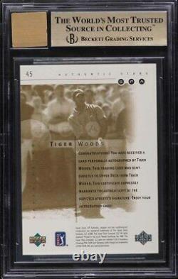 2001 SP Authentic Gold Tiger Woods ROOKIE RC AUTO /100 #45 BGS 9.5 GEM MINT