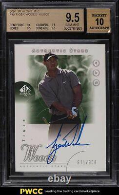 2001 SP Authentic Golf Tiger Woods ROOKIE RC AUTO /900 #45 BGS 9.5 GEM MINT