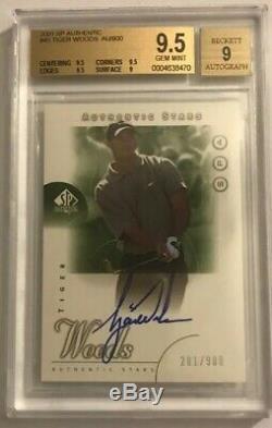 2001 SP Authentic Tiger Woods Rookie Autograph Auto RC /900 BGS 9.5 Gem Mint