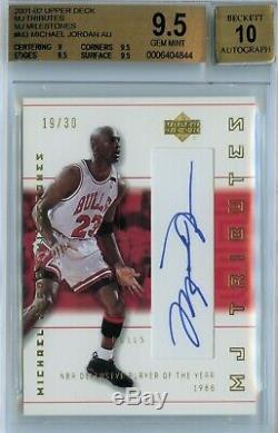 2001 Upper Deck MJ Tributes Milestones Michael Jordan AUTO /30 BGS 9.5, POP 2