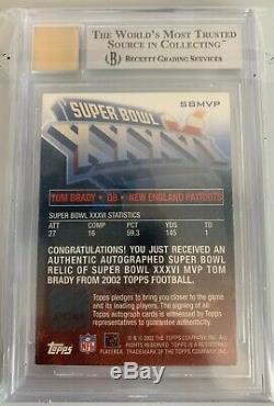 2002 Topps Super Bowl XXXVI MVP Tom Brady AUTO PATCH /150 BGS 9 MINT AUTOGRAPH