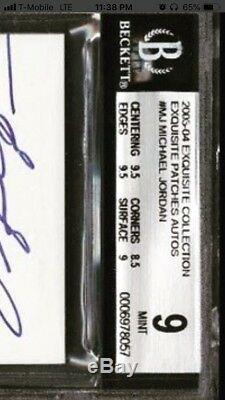2003-04 Exquisite Collection MICHAEL JORDAN AUTO 3 color Patch /100 BGS 9/10