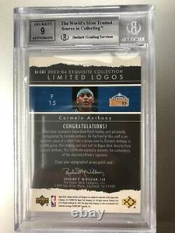 2003-04 UD Exquisite Collection Carmelo Anthony AUTO PATCH Limited Logos BGS 9