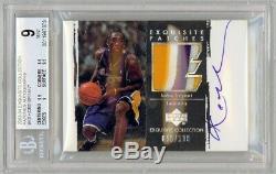 2003-04 UD Exquisite Kobe Bryant 3 Color Name Patch/ Auto #D 056/100 BGS 9 MINT