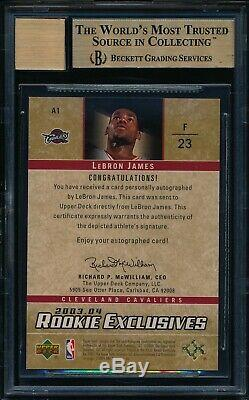2003 UD Rookie Exclusives LeBron James #A1 Autograph Graded BGS 9.5 with 10 Auto