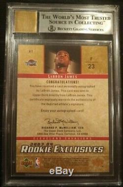 2003 Upper Deck Rookie Exclusives LEBRON JAMES Auto Rookie Autograph Bgs 9 /10