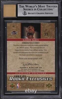 2003 Upper Deck Rookie Exclusives LeBron James SP ROOKIE RC AUTO #A1 BGS 9 MINT
