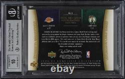2004 Exquisite Collection Magic Johnson Larry Bird LOGOMAN PATCH AUTO 1/1 BGS 9