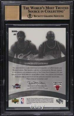 2004 Sp Game Used Duals Lebron James & Michael Jordan AUTO /25 BGS 9.5