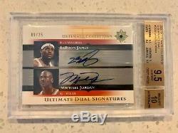 2005 Michael Jordan LeBron James Ultimate Collection Dual /25 BGS 9.5 Auto 10