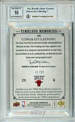 2007-08 Chronology Michael Jordan Auto Autograph Dunk BGS 9 10 #/99.5 Away 9.5