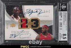 2007 Exquisite Numbers Michael Jordan LeBron James PATCH AUTO /23 BGS 8.5 NM-MT