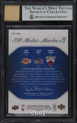 2007 SP Rookie Threads Kobe Bryant LeBron James Michael Jordan AUTO 23/25 BGS 9