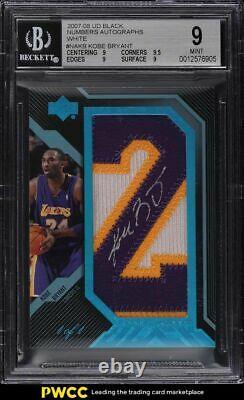 2007 UD Black Numbers Autographs Kobe Bryant PATCH AUTO 1/1 #NAKB BGS 9 MINT