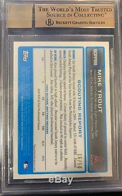 2009 Bowman Chrome GOLD Refractor Mike Trout Angels RC AUTO /50 BGS 9.5 with 10