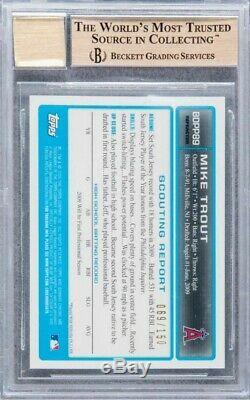 2009 Bowman Chrome MIKE TROUT Blue Refractor Auto rc rookie /150 BGS 10 (POP 2)