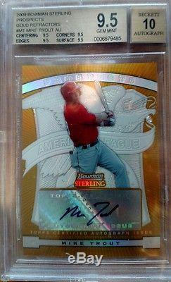 2009 Bowman Sterling Mike Trout Auto Gold Refractor RC #d/50 BGS 9.5 Auto 10
