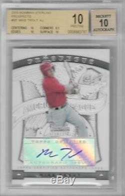 2009 Mike Trout Bowman Sterling Prospects Auto RC- BGS 10 Pristine. Very Rare