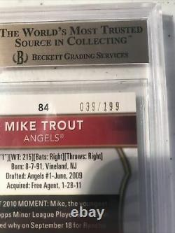 2011 Finest Green Refractor Mike Trout ROOKIE RC AUTO 39/199 #94 BGS 9.5 with10
