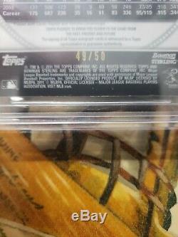 2011 bowman sterling bgs 9 mint gold refractor #d/50 auto autograph mike trout