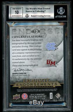 2012-13 Exquisite Dual Endorsements Michael Jordan Julius Erving BGS 9 Auto 10