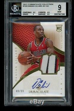2012-13 Immaculate Damian Lillard Rookie Patch Auto /99 BGS 9/10 With(2) 9.5s RPA