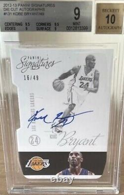 2012-13 Panini Signatures Die Cut Auto /49 Kobe Bryant Auto Card Bgs 9 10 Auto