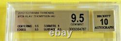2012-13 Panini Threads #159 Klay Thompson On Card Auto Rookie Bgs 9.5 Auto 10