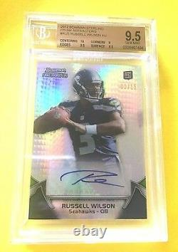 2012 Russell Wilson Prism /15 ROOKIE BGS 9.5 AUTO 10 1/1 Superbowl Contenders