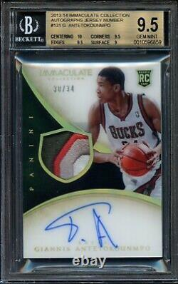 2013-14 Immaculate Jersey Number Giannis Antetokounmpo BGS 9.5 Auto RC RPA #/34