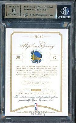 2014-15 Flawless Momentous Gold Stephen Curry Warriors Patch AUTO /10 BGS 9.5