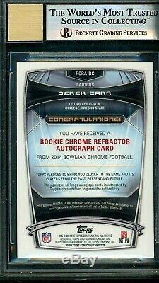 2014 BOWMAN CHROME DEREK CARR Superfractor Rookie AUTO BGS Mint 9 10 #1/1